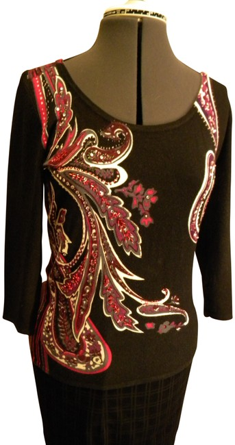 Preload https://item5.tradesy.com/images/choices-black-wfushiaviolet-and-gray-paisley-print-beaded-sweaterpullover-size-6-s-410754-0-0.jpg?width=400&height=650