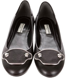 Balenciaga Metallic Edge Ballet Leather Leather Ballet Studded Black Flats