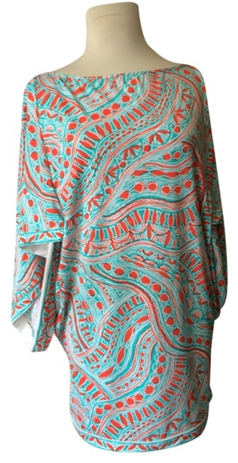 Item - Coral/Aqua Blue/White Cover-up/Sarong Size 8 (M)