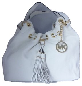 Michael Kors Leather Gold Hardware Logo Tote in Optic White