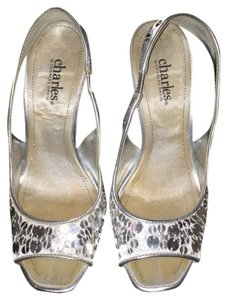 Charles David Sequined High Heels Platform High Heel Peep Toe Wedding Silver Pumps
