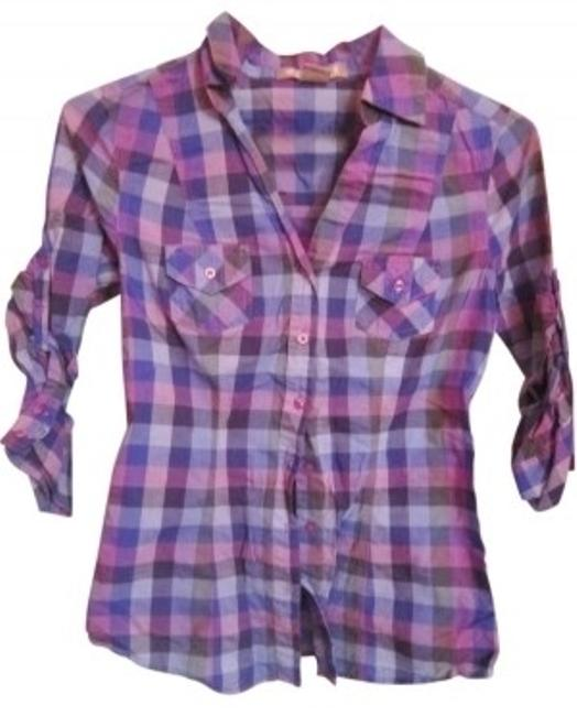 Preload https://item1.tradesy.com/images/arizona-jean-company-purple-plaid-button-down-top-size-4-s-41090-0-0.jpg?width=400&height=650