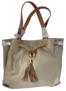 Michael Kors Canvas Leather Gold Hardware Logo Tote in Pale Gold