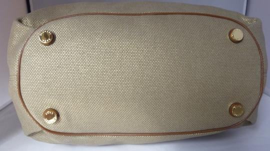 Michael Kors Canvas Leather Hardware Logo Tote in Pale Gold