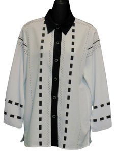 Draper's and Damon's Polyester & Business Casual Button Down Shirt Black and White