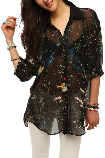 Urban Outfitters Galaxy Starry Night Tunic Top Black and multi-colored