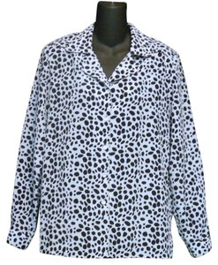 Draper's and Damon's Polyester Spotted Blouse Button Down Shirt Black and White