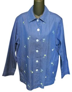 Draper's and Damon's Cotton Denim Embroidered Floral Casual Button Down Shirt Denim Blue