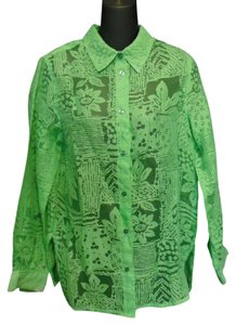 Coldwater Creek Rayon Polyester Flax Casual Burnout Botanical Button Down Shirt Lime Green