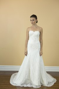 Handmade Sweetheart White Lace Wedding Dress Aline Lace Pleated Bridal Gown Wedding Dress