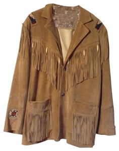 3B West Beaded Suede Fringe Tan Leather Jacket
