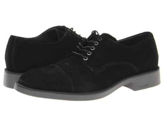Calvin Klein Lenny Mens Black Suede Casual Dress Lace Up Oxfords Shoes