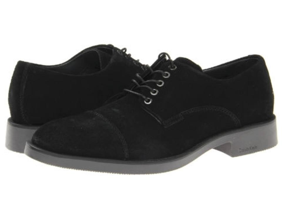Calvin Klein Lenny Mens Black Suede Casual Dress Lace Up Oxfords