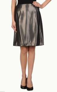 Marc Jacobs W21316126 Womens Cocoa Silk Houndstooth Lame A Line Skirt Brown