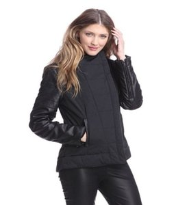 W118 by Walter Baker Rachelle Womens Faux Leather Moto Coat Black Jacket