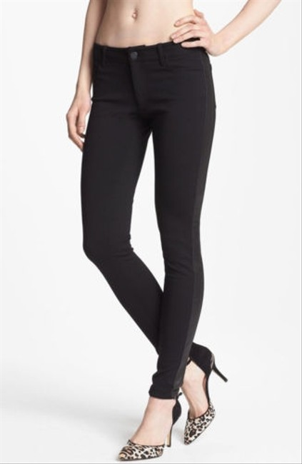Paige Denim Womens Faux Leather Tuxedo Stripe Peg Super Skinny Pants