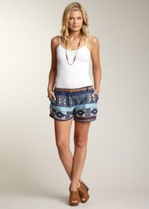 Willow & Clay Womens Blue Brown Ethnic Aztec Print Shorts Multi-Color
