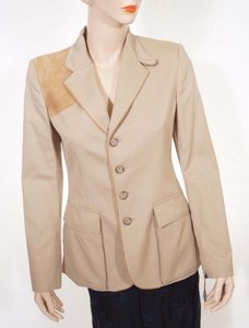 Ralph Lauren Blue Label Ralph Lauren Blue Label Womens Beige Khaki Goat Leather Blazer Jacket Coat