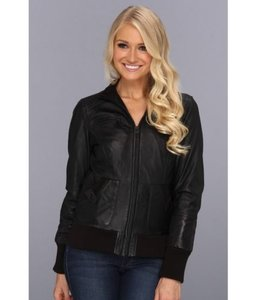 Marc New York By Womens Nicki Quilted Bomber Leather Black Jacket