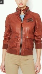 Mackage Liat Women Brick Lamb Leather Hooded Bomber Moto Biker Coat Red Jacket