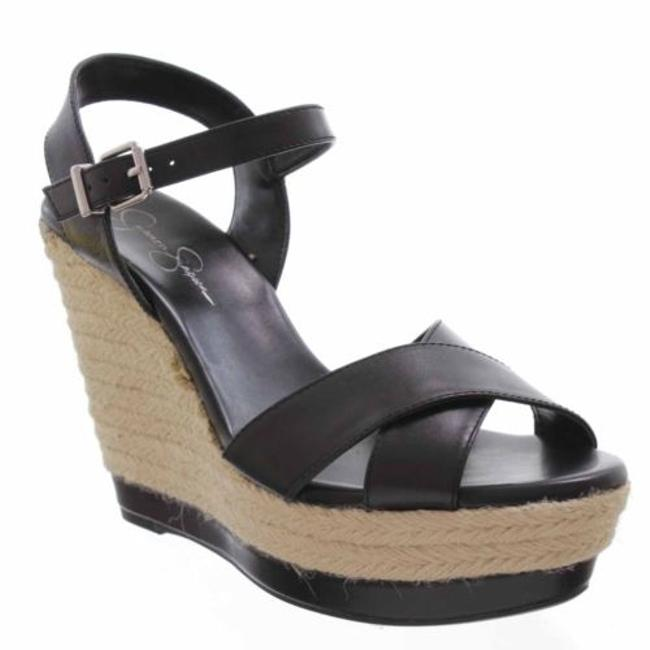 Jessica Simpson Kowloon Womens Black Leather Sandals Platforms Wedges Shoes-9  - Tradesy