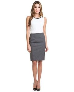 Elie Tahari Womens Blue Check Stretch Lined Pencil Penelope Skirt Gray