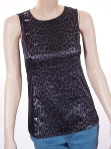 T Tahari T Leetal Womens Animal Print Stretch Sleeveless Top Black