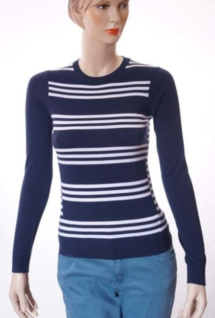 Preload https://item1.tradesy.com/images/theory-tommie-fs-womens-blue-white-wool-striped-pullover-sweater-top-petites-p-4111600-0-0.jpg?width=400&height=650