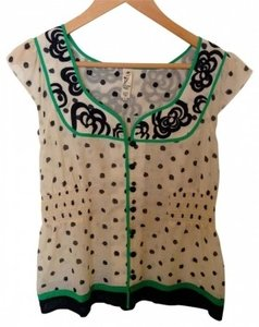 Anthropologie Top Cream and Black and green
