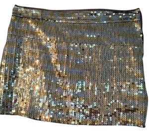 Abercrombie & Fitch Sequin Mini Skirt gold