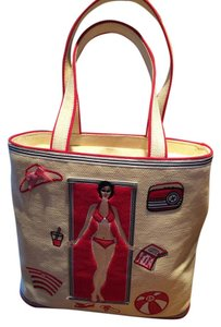 Lulu Guinness Tote in Tan with red