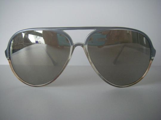 Style Eyes Style Eyes Aviator Sunglasses Blue Gray Plastic Frame Mirror Lens Italy True Vintage Rare