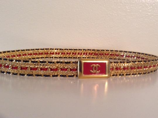 Chanel RARE VINTAGE CHANEL GOLD PLATED LEATHER CC BELT