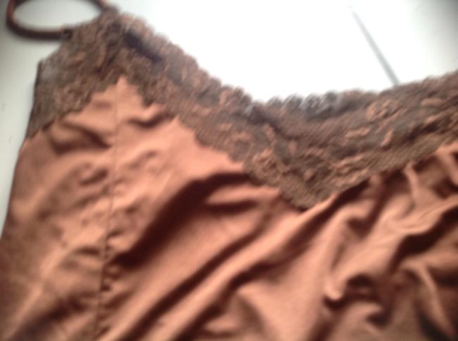 The Limited Lace Detail A Keep Piece. Hard To Find Bronze Satin Feel Top Brown