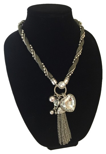 Other Handmade silver boutique necklace Large Gem tassle necklace