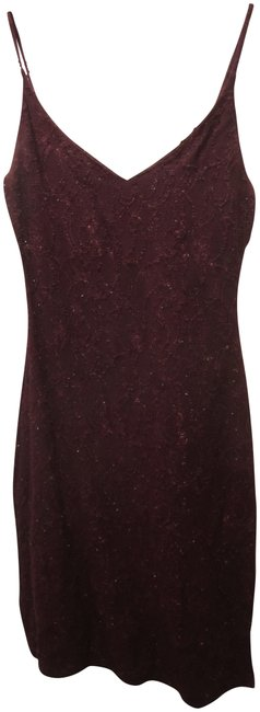 Item - Oxblood Fitted Sparkle Above Knee Cocktail Dress Size 4 (S)
