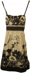 Heart Soul short dress cream and dark brown Swing Floral Flowy on Tradesy