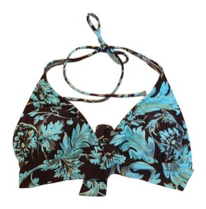Sunsets Separates Sunsets Separates Aqua & Black Floral Swimsuit Bikini Top XS