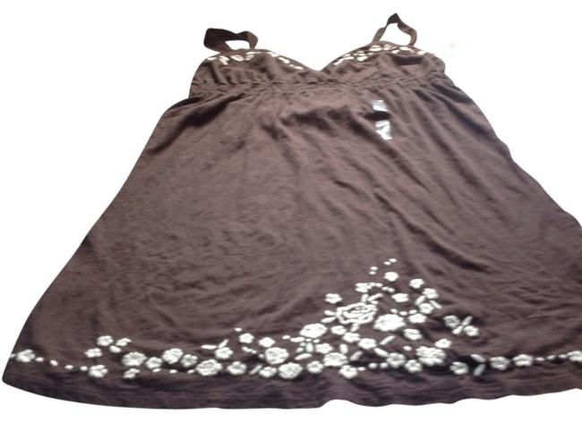Banana Republic short dress Chocolate brown with white trim Br Brand New Tags Color Soft Cotton on Tradesy