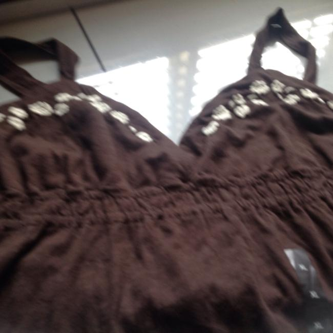 Banana Republic short dress Chocolate brown with white trim Br Tags Color Soft Cotton on Tradesy