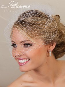 Illusions Bridal White Birdcage With Scattered Pearls Bridal Veil