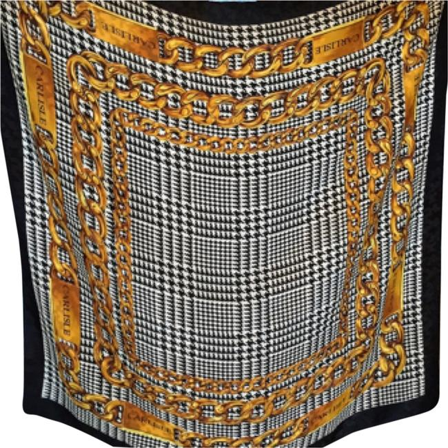Item - Black White and Gold Silk Houndstooth Chains Scarf/Wrap