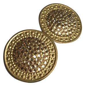 Richard Kerr Richard Kerr Gold Swavorski Crystals Round Disc Clip on Earrings