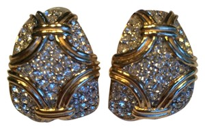 Ciner Clear Rhinestones and gold tone Clip on Earrings
