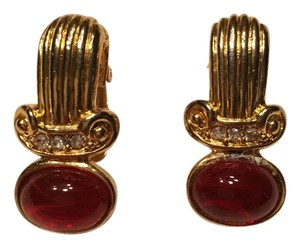 Other Ruby glass cabochon with rhinestones clip on earings