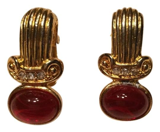 Preload https://item5.tradesy.com/images/ruby-glass-cabochon-with-rhinestones-clip-on-earrings-4116214-0-0.jpg?width=440&height=440