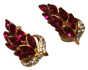 Other Glass ruby color stones with rhinestones gold tone clip on earrings