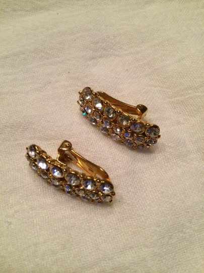 Other Clear Rhinestones gold tone clip on earrings