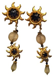 Other Starburst design long clip on earrings with blue stones gold tone