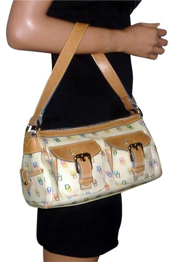 Dooney & Bourke Heart Coated Canvas Vachetta Leather Serial Number Buckles Shoulder Bag